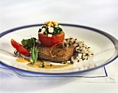 Rump steak with pepper sauce