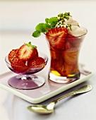 Strawberry dessert with port wine cream
