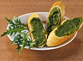 Rocket pesto on baguette
