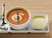 Tomato soup with tofu cream