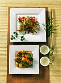 Thai vegetables with red lentils and Asian sprouts