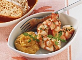 King prawns with basil and anchovy mayonnaise