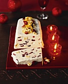 Ice cream terrine with white chocolate and cranberries
