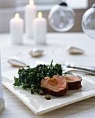 Stuffed pork fillet with kale