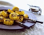 Grilled corncob, in slices