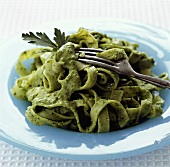Ribbon pasta with parsley pesto