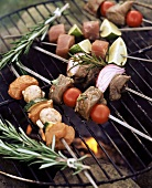 Meat and vegetable kebabs with rosemary on barbecue
