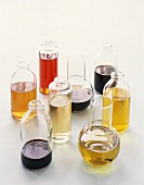 Various types of vinegar and oil