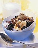 Muesli with blackberries and chocolate