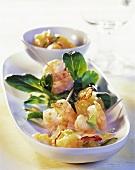 Fried shrimps with sharon fruit chutney