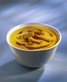 Pumpkin soup with strips of bread