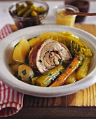 Pot-au-feu with belly pork
