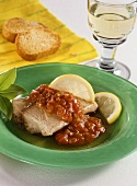 Catfish with tomato and ramsons sauce