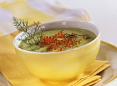 Avocado soup with trout caviare