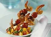 Shrimp kebabs with vegetable salad