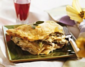 Filo pastry lasagne with asparagus