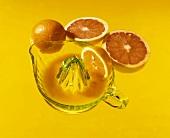 Orange and grapefruit with citrus squeezer
