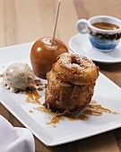 Doughnuts, toffee apple and ice cream