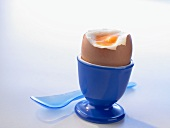 Soft-boiled egg in a blue eggcup
