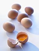 Brown eggs, one broken open