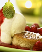 Savarin with vanilla ice cream and raspberries