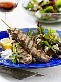 Souvlaki kebab with salad