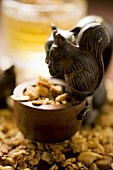 Wooden squirrel with muesli