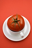 Red tomato in coffee cup against red background