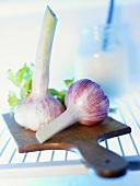 Garlic bulbs on chopping board in fridge