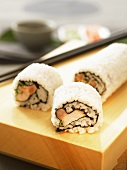 Sushi (ura-maki) on a sushi platter