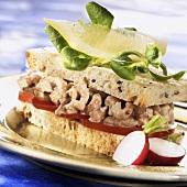 Shrimp and tomato sandwich