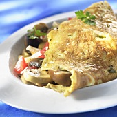 Omelette with mushroom and vegetable filling