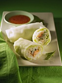 Vietnamese spring rolls with salmon, vegetables & rice noodles