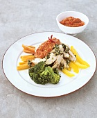 Chicken breast fillet with vegetables and chili sauce