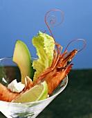 King prawn with avocado