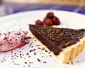 Chocolate truffle tart with cherry cream