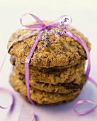 Chocolate chip cookies with pink gift ribbon