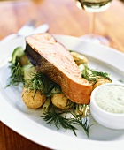 Salmon with potatoes, dill and herb sauce