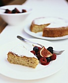 Almond cake with figs and berries