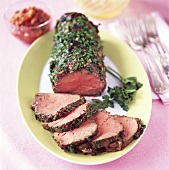 Beef fillet with herb crust