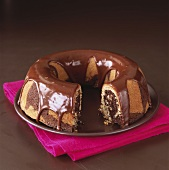 Marble cake with chocolate icing