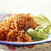 Carrot salad with honey and sesame seeds