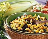 Baked vegetables and fruit, with tomato rice