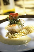 Kingklip on linguine & coconut & lemon grass foam, S. Africa