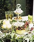 Christmas table with cake and sweets