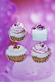 Decorated cup-cakes (collage)