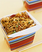 Fried noodles with stir-fried vegetables and seafood