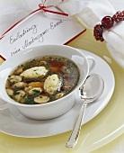 Cep broth with semolina dumplings for Martinmas