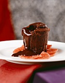 Chocolate soufflé on slices of blood orange