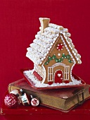 Gingerbread house on an old book